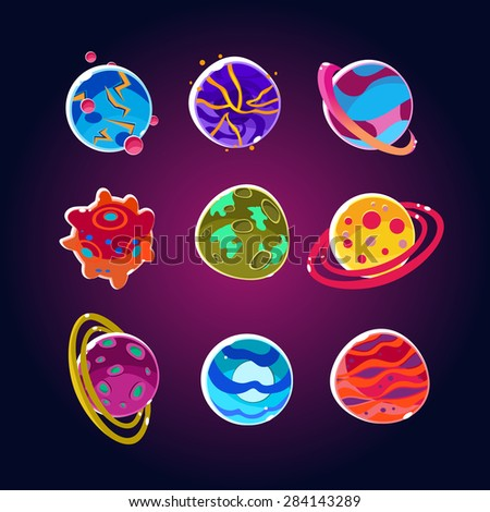 Comic Planets And Space Asteroids Set. Illustration of a set of various comic planets, moons, asteroid and alien earth globes - stock vector