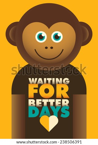 Comic poster with monkey. Vector illustration. - stock vector