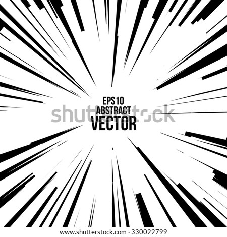 Comic Radial Speed Lines. Graphic Explosion with Speed Lines. Comic Book Design Element. Vector Illustration. - stock vector