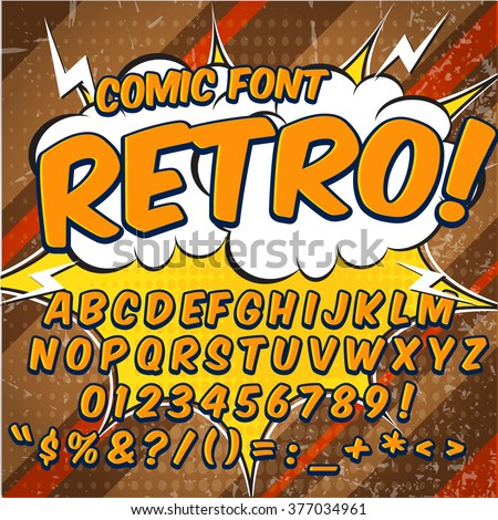 Comic retro alphabet set. Yellow color version. Letters, numbers and figures for kids' illustrations, websites, comics, banners. - stock vector
