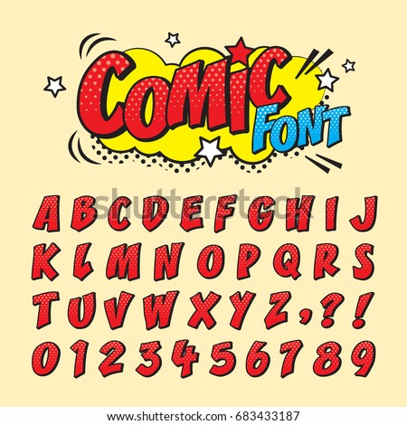Conosciuto Comic Retro Font Set Alphabet Letters Stock Vector 683433187  ZD79