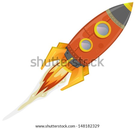 Comic Rocket Ship / Illustration of a cartoon retro red iron spaceship blasting off and flying isolated on white - stock vector