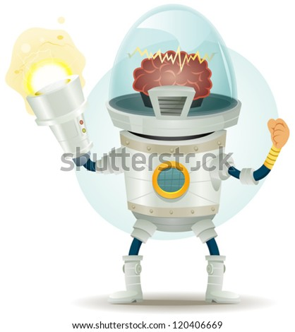 Comic Scifi Droid Superhero Character/ Illustration of a funny scifi cartoon superhero droid or cyborg character with awesome bionic electric laser gun - stock vector