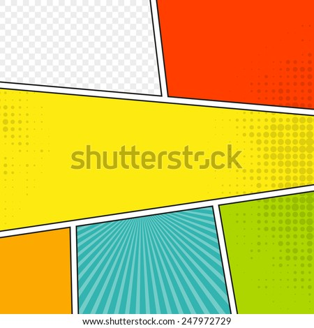 Comic speech bubble background pop-art style. Colorful vector illustration.  Bright cartoon comic - stock vector