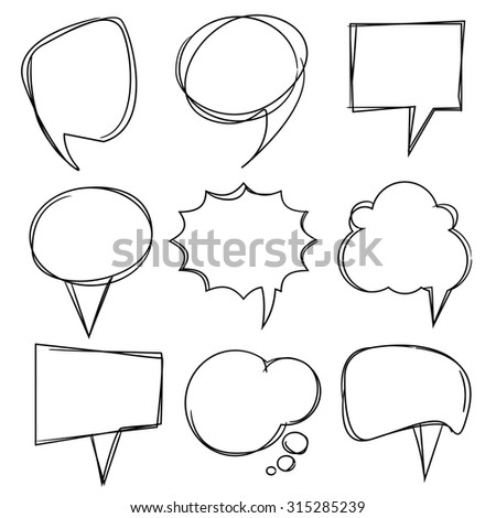 comic speech bubble, hand drawn theme - stock vector