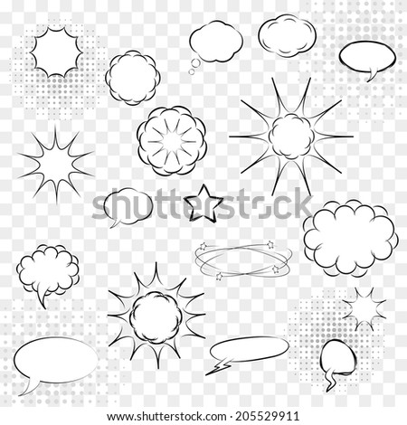 comic speech bubbles and explosions vector set. eps10 - stock vector