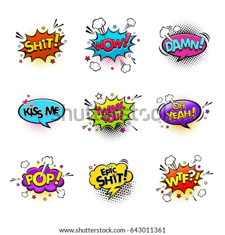Comic speech bubbles and splashes set with different emotions and text Wow,Shit, Oh Yeah, Damn, Kiss me, Thank you, Epic Shit, Pop, Wtf. Vector bright dynamic cartoon illustrations on white background