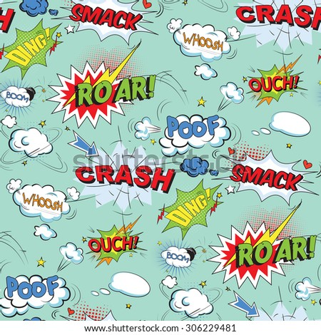 Comic speech bubbles in pop art style with bomb cartoon and explosion text seamless pattern vector illustration - stock vector