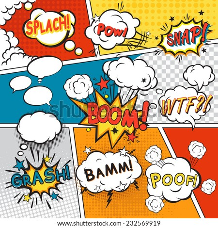 Comic speech bubbles in pop art style with splach powl snap boom poof text set vector illustration - stock vector