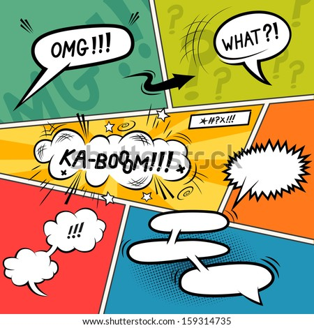 Comic Speech Bubbles. Layered vector illustration. - stock vector