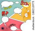 Comic Speech Bubbles on a comic strip background, vector illustration - stock vector