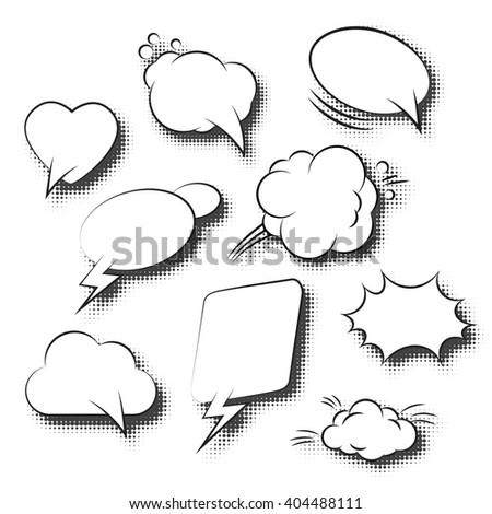 Comic Speech Bubbles Retro Collection. Vector illustration - stock vector