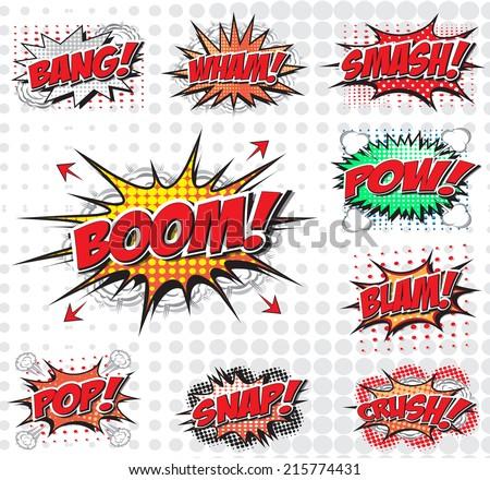 Comic speech bubbles set, comic wording sound effect set design for comic background, comic strip - stock vector