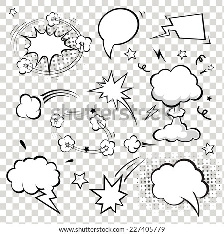 Comic Speech Bubbles. vector illustration. Black and white - stock vector