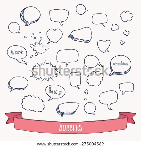 Comic speech doodles. Hand drawn vector illustration. Isolated. - stock vector