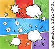 Comic strip  and comic speech   bubbles on colorful halftone background vector illustration - stock