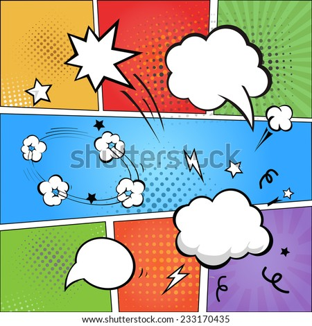 Comic strip  and comic speech   bubbles on colorful halftone background vector illustration - stock vector