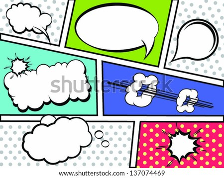 Comic Strip with Speech Bubbles- Vector - stock vector