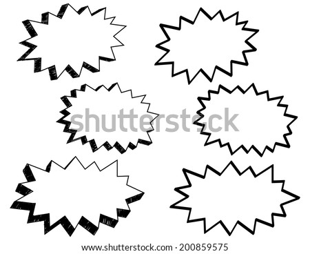 Comic Style Action Word Bubbles in Different Perspectives and Angles - stock vector