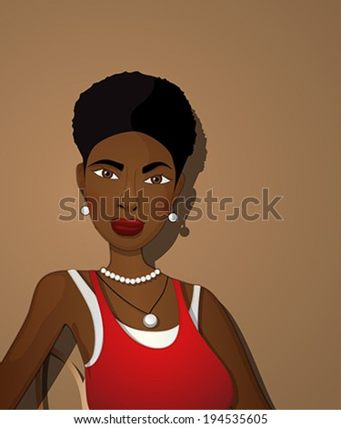 Comic style portrait of a beautiful black girl in a red dress. Vector illustration. - stock vector