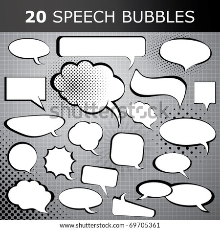 Comic style speech bubbles collection - stock vector
