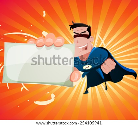 Comic Super Hero Holding Sign/ Illustration of a cool cartoon super hero holding card sign - stock vector