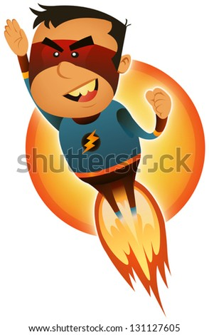 Comic Superhero Blasting Off/ Illustration of a cartoon red and blue masked super hero character blasting off and flying straight forward - stock vector