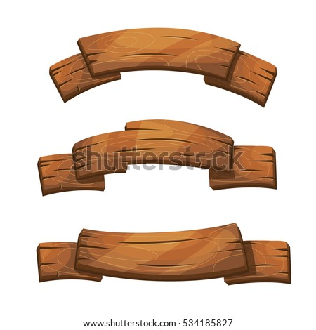 Comic Wooden Banners Signs Wood Plank Stock Vector