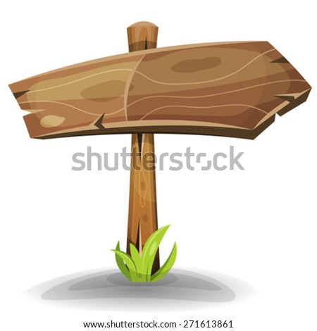 Comic Wooden Sign Arrow/ Illustration of a cartoon comic wood rural directional road sign arrow - stock vector