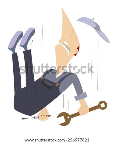 Comic worker is falling down from high construction - stock vector