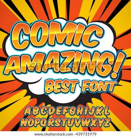 Comic yellow alphabet set. Letters, numbers and figures for kids' illustrations, websites, comics, banners.