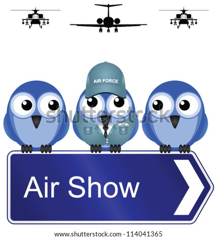 Comical air show sign isolated on white background