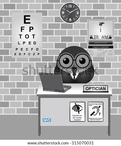 Comical bird Optician consulting room with eye test chart   - stock vector