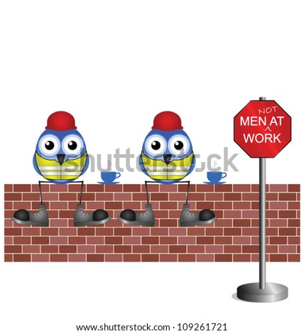 Comical construction workers having a tea break isolated on white background - stock vector