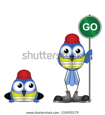 Comical construction workers with go sign isolated on white background - stock vector