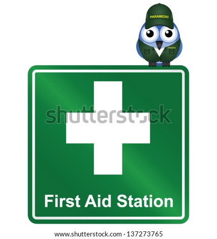 Comical First Aid Station sign isolated on white background - stock vector