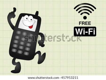 Comical mobile telephone and free wifi connection on graph paper background with copy space for own text - stock vector