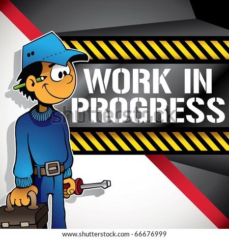 Comical work in progress banner. Vector illustration. - stock vector