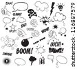 Comics Bubble Superhero bashing black and white - stock vector