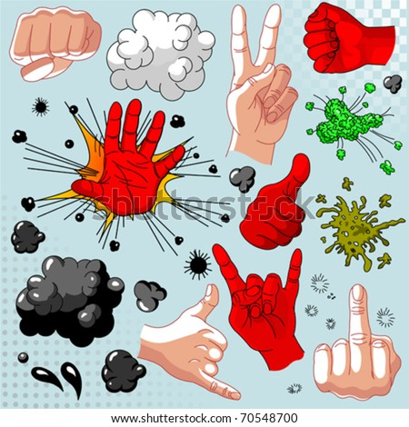 Comics hands collection - icon set