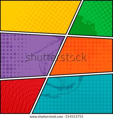 Comics pop-art style blank layout template background vector illustration  - stock vector
