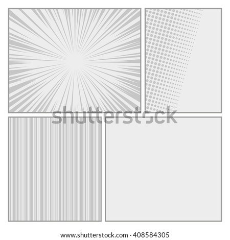 Comics pop art style blank layout template with dots pattern background vector - stock vector