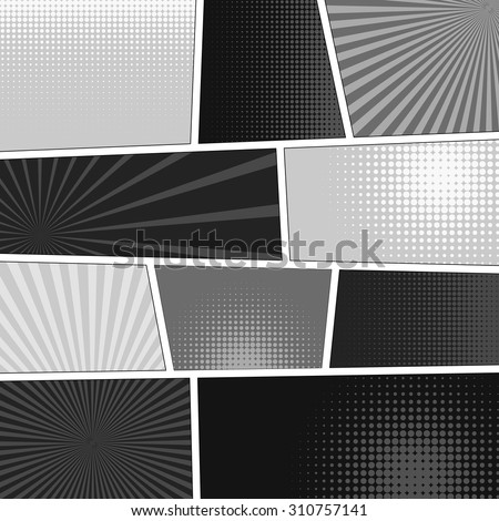 Comics popart style blank layout template background vector illustration - stock vector