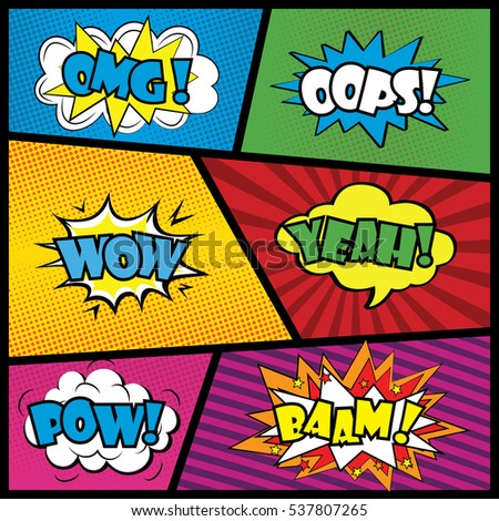 Comics speech bubble with expressions stickers set,stock vector illustration