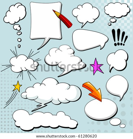 Comics style speech bubbles / balloons on yellow background - stock vector