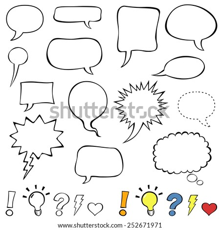 Comics style speech bubbles. Collection set of cute speech balloon doodles plus some punctuation marks, symbols, and bubbles. Vector illustration.   - stock vector
