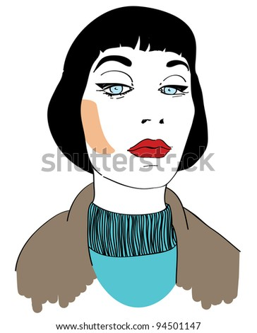 Comics-style woman with haughty look - stock vector