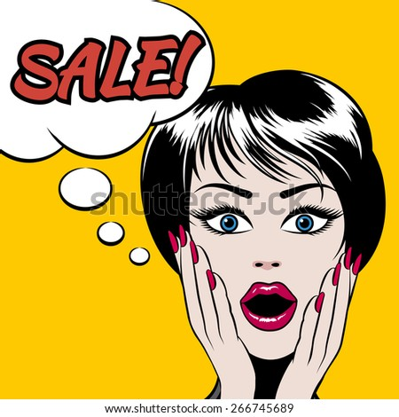 Comics style woman with SALE bubble. Consumerism and advertising poster, vector illustration - stock vector