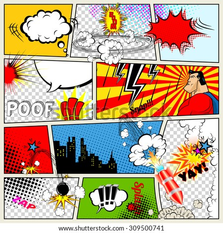 Comics Template. Vector Retro Comic Book Speech Bubbles Illustration. Mock-up of Comic Book Page with place for Text, Speech Bubbles, Symbols, Sound Effects, Colored Halftone Background and Superhero - stock vector