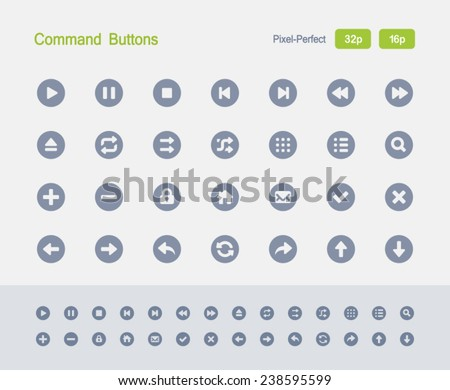 Command Buttons. Granite Icon Series. Simple glyph style icons optimized for two sizes. - stock vector